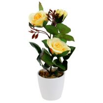 Rose décorative en pot jaune 23 cm
