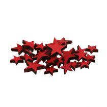 Étoiles en bois éparses rouges 3-5cm 72pcs
