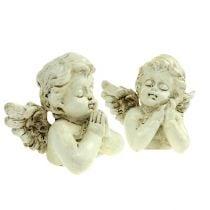 Ange décoratif crème de prière 9cm 8pcs