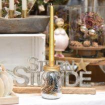 Verre décoratif avec bougeoir couvercle métal doré Ø8.5cm H16cm