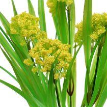 Herbe décorative verte avec fleurs jaunes L. 30 cm