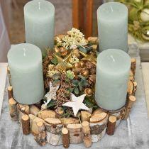 Couronne décorative en bois de bouleau décoration de table Ø30cm H7cm