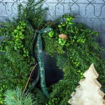 Couronne décorative grosses branches de conifères, cônes et buis vert 70cm