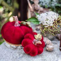 Déco citrouille rouge décoration de table automne polyrésine 10,5 × 9cm 2pcs
