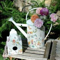 Nichoir décoratif à fleurs en métal blanc 25,5c × 16 × 13,5cm