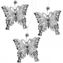 Papillon pendentif décoratif, décoration de mariage, papillon en métal, ressort 6pcs