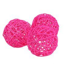 Balle décorative fuchsia 10 cm 6 p.