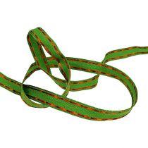 ruban décoratif vert avec fil 15mm 15m