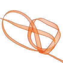 Ruban déco orange à pois 7mm 20m