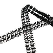 Ruban déco noir, argent 10mm 4m
