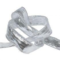 Ruban déco argenté avec fil métallique 25m