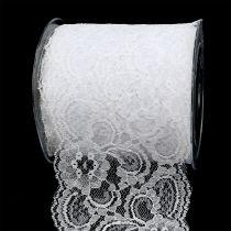 Ruban décoratif dentelle 100 mm 10 m blanc