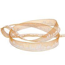 Ruban déco avec motif hiver blanc orange 15mm 20m