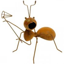 Déco figurine fourmi métal filet papillon décoration de jardin rouille 19cm