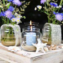 Verre décoratif, vase à fleurs, lanterne en verre, décoration de table Ø10cm H10cm 6pcs