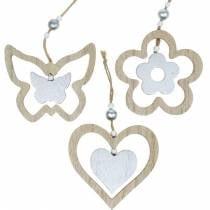 Cintre de décoration coeur fleur papillon nature, décoration bois argenté 6pcs