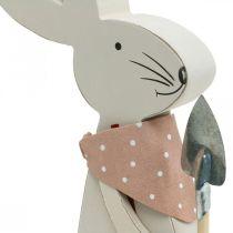 Lapin décoratif avec pelle, lapin garçon, décoration de Pâques, lapin en bois, lapin de Pâques
