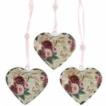 Coeur décoratif pivoines coeur métal nostalgique à accrocher 6pcs