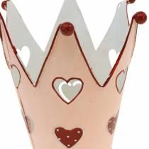 Couronne décorative, lanterne en métal, jardinière pour la Saint Valentin, décoration en métal avec un coeur