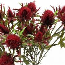 Chardon Fleur Artificielle Rouge Bordeaux 10 Têtes De Fleurs 68cm 3pcs