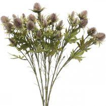 Branche artificielle de chardon violet 10 capitules 68cm 3pcs
