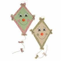 Cerf-volant de décoration d'automne à suspendre vert menthe-vieux rose / vert olive naturel 40cm x 57cm 2pcs