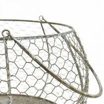 Corbeille en fil Shabby Chic corbeille en fil de décoration de jardin Ø37 / 26cm lot de 2