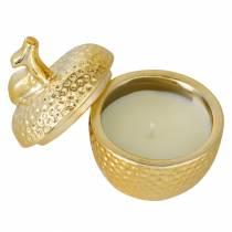 """Bougie parfumée """"Spiced Apple"""" dans boîte à bijoux pomme or Ø7,2cm H8,5cm"""