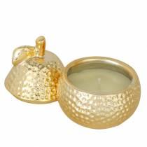 """Bougie parfumée """"Magnolia & Pear Blossom"""" dans une boîte à bijoux poire or Ø7,4cm H9cm"""