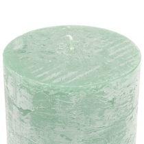 Bougies de couleur unie vert clair 50x100mm 4pcs