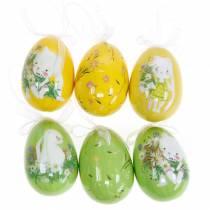 Oeuf de Pâques déco à suspendre jaune, vert assorti H7cm 6pcs