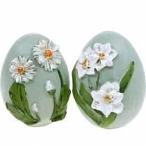 Oeufs de Pâques avec motif de fleurs marguerites et jonquilles bleu, vert plâtre assorti 2pcs