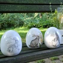 Oeuf en céramique lapin blanc Ø12,5cm H16cm 2pcs