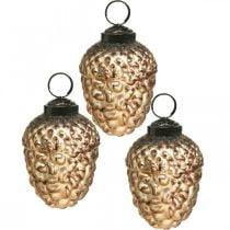 Cônes déco vintage dorés en verre gland Décorations d'arbre de Noël 5,5 × 8cm 12pcs