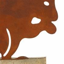 Écureuil rouille sur le socle en bois 19cm x 25cm