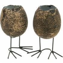 Coquille d'oeuf à planter avec pattes, oeuf de Pâques, oeuf aux pattes d'oiseau, décoration de Pâques noir doré 4pcs