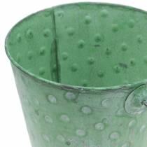 Jardinière décorative avec seau à pois en métal vert lavé Ø13cm H12.5cm