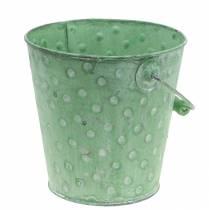 Cache-pot décoratif à pois métal vert lavé Ø18,5cm H18cm