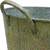 Seau vert avec anses Ø35cm Jardinière look vintage métal rouille