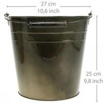 Récipient en métal, seau à plantes, décoration en métal Ø27cm H25cm