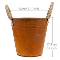 Cache-pot patiné, vase en métal, décoration automne Ø18cm H17.5cm