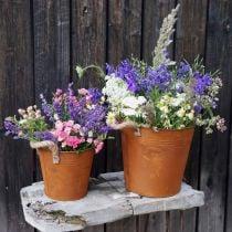 Pot en métal avec anses, pot à herbes, décoration rouille Ø16.5cm H15cm