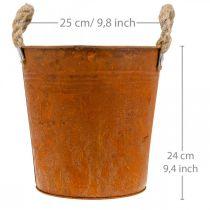 Jardinière avec anses, bol de jardinière, récipient en métal avec décoration rouille Ø25cm H24cm