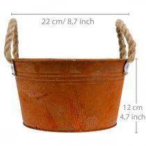 Pot en métal avec poignées en corde, jardinière, automne, patine Ø22cm H12cm