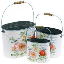 Seau à plantes ovale vintage printemps décoration jardinière en métal 26/22 / 17cm lot de 3