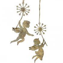 Ange avec pissenlit, décoration de Noël, décoration pendentif, décoration métal doré aspect antique H16/15cm 4pcs