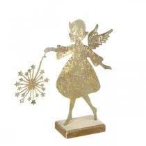 Ange décoratif avec pissenlit, Décoration de l'Avent en métal, Ange de Noël doré aspect antique H21cm