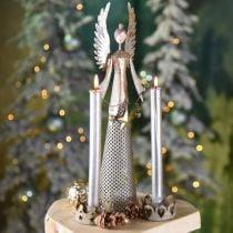 Figurine d'ange décorative avec guirlande de Noël métal 13 × 8.5cm H40cm