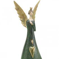 Déco figurine ange vert ange de Noël avec coeur doré H41cm