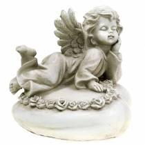 Ange décoratif sur coeur avec LED 16cm 19cm H14,5cm